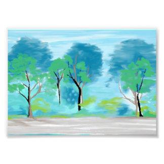 Copie bleue et verte d'arbre impression photo