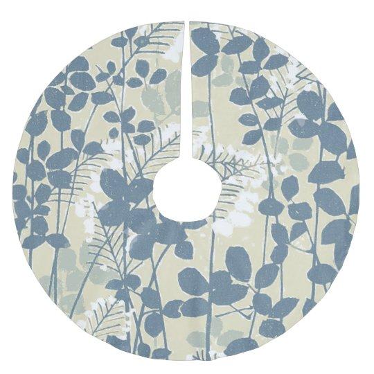 Copie bleue florale de fleurs d'art asiatique jupon de sapin en polyester brossé