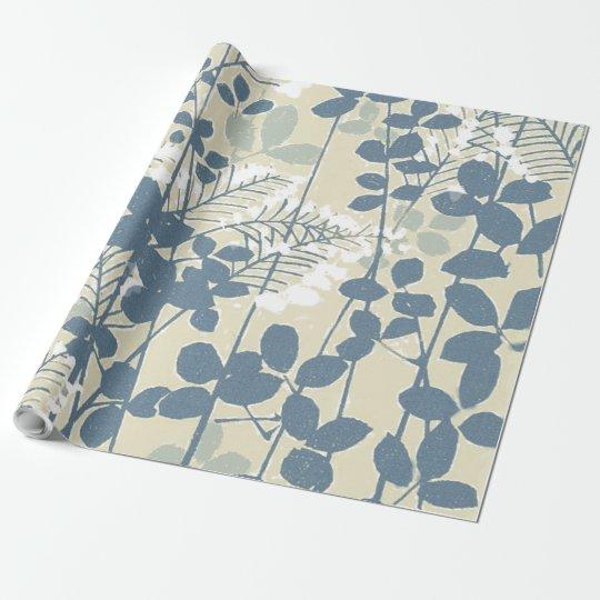 Copie bleue florale de fleurs d'art asiatique papier cadeau noël
