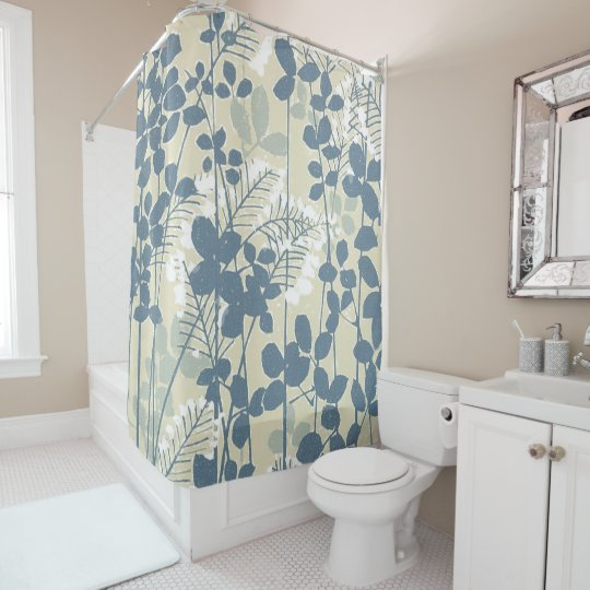 Copie bleue florale de fleurs d'art asiatique rideaux de douche