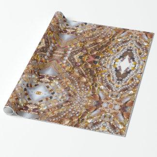 Copie brillante de perles d'Earthtones de papier Papiers Cadeaux Noël