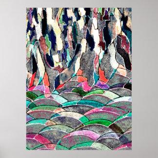 Copie colorée d'art abstrait de pré rocheux