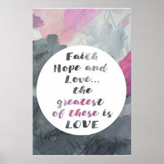 Copie d'affiche d'art abstrait d'espoir et d'amour