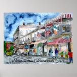 Copie d'art de paysage urbain de rue de rivière de posters