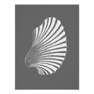 Copie de bloc de Shell de feston, gris/gris et Poster