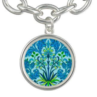 Copie de jacinthe de William Morris, bleu Cerulean Bracelets Avec Breloques