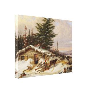 Copie de toile d'art de cabane en rondins d'hiver