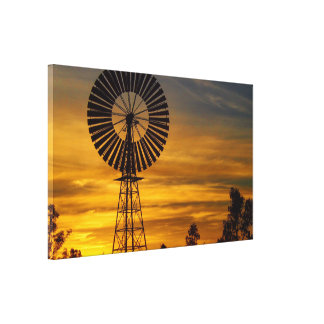 Copie de toile de coucher du soleil de moulin à