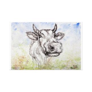 Copie de toile d'illustration d'aquarelle de vache