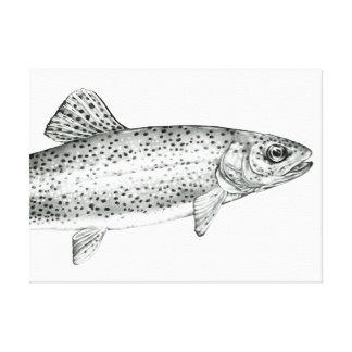 Copie de toile étirée par dessin de truite