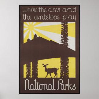 Copie de voyage de parc national rétro d'annonce