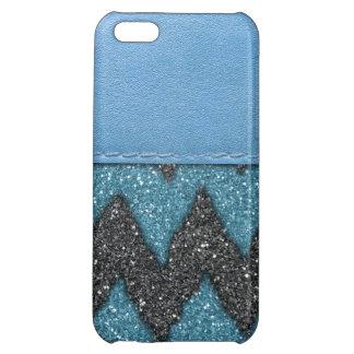 Copie en cuir bleue Girly de parties scintillantes Coques Pour iPhone 5C