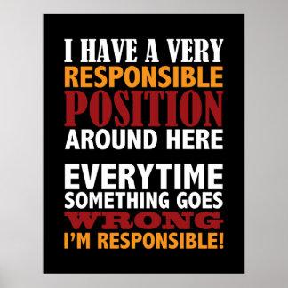 Copie humoristique d'affiche de position responsab poster