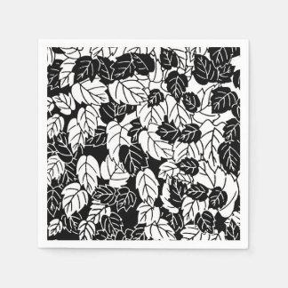 Copie japonaise de feuille, noire et blanche serviette en papier