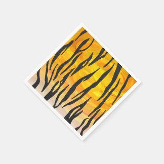 Copie noire et orange de tigre serviette en papier