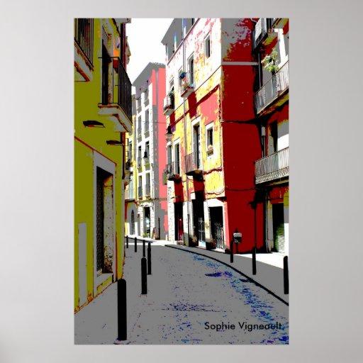 copie psychédélique de rue de l'Espagne Posters