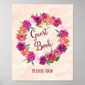 Copie rose d'affiche de mariage de livre d'invité