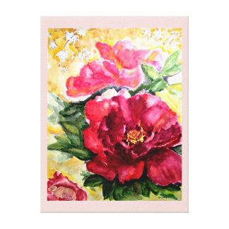 Copie rose de floraison de toile d'aquarelle