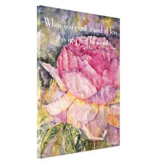 Copie rose de toile d'aquarelle de citation de zen
