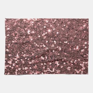 Copie rose moderne de scintillement de Faux d'or Serviette Pour Les Mains
