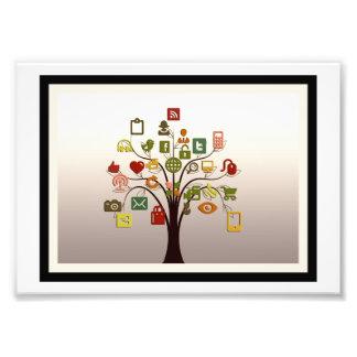 Copie sociale de photo d'art de mur d'arbre de