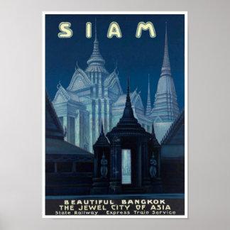 Copie vintage d'affiche de voyage du Siam (Thaïlan
