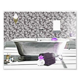 Copie vintage de photo d'aquarelle de baignoire