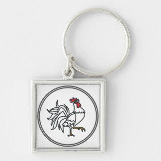 Coq blanc - collection de crabe de crevette rose porte-clés