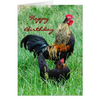 Coq et poule de joyeux anniversaire carte de vœux