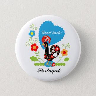 Coq portugais de la chance badge rond 5 cm