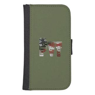 Coque Avec Portefeuille Pour Galaxy S4 Américain militaire privé Pvt de vert d'armée des