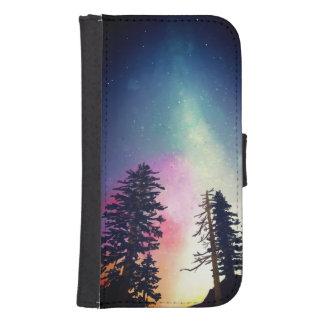 Coque Avec Portefeuille Pour Galaxy S4 Beau ciel nocturne brillant jusqu'aux cieux
