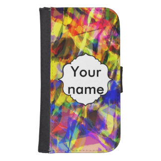 Coque Avec Portefeuille Pour Galaxy S4 Conception abstraite colorée de effacement de