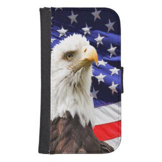 Coque Avec Portefeuille Pour Galaxy S4 Drapeau américain d'Eagle chauve