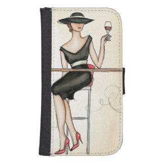 Coque Avec Portefeuille Pour Galaxy S4 Femme française buvant du vin rouge