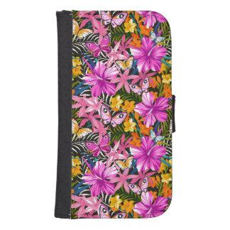 Coque Avec Portefeuille Pour Galaxy S4 Feuille et fleurs tropicaux