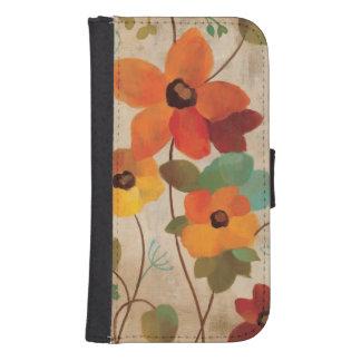 Coque Avec Portefeuille Pour Galaxy S4 Fleurs colorées sur un arrière - plan blanc