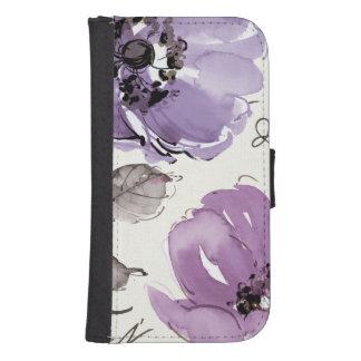 Coque Avec Portefeuille Pour Galaxy S4 Fleurs pourpres