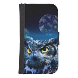 Coque Avec Portefeuille Pour Galaxy S4 Hibou et ciel nocturne