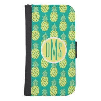 Coque Avec Portefeuille Pour Galaxy S4 Monogramme en pastel des ananas |