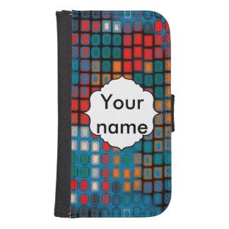 Coque Avec Portefeuille Pour Galaxy S4 Motif coloré de rectangles