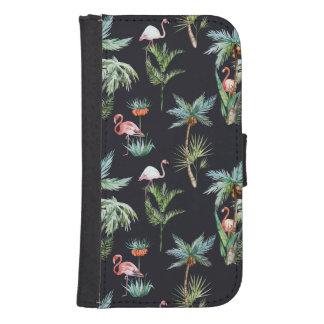 Coque Avec Portefeuille Pour Galaxy S4 Motif de paume d'aquarelle