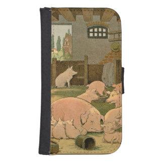 Coque Avec Portefeuille Pour Galaxy S4 Porcs et porcelets à la ferme