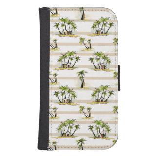 Coque Avec Portefeuille Pour Galaxy S4 Shack tropical et paumes