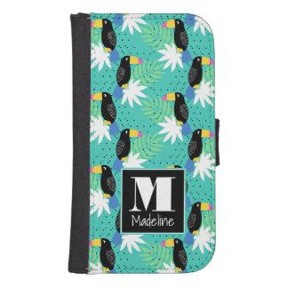 Coque Avec Portefeuille Pour Galaxy S4 Toucans sur le monogramme de Teal |