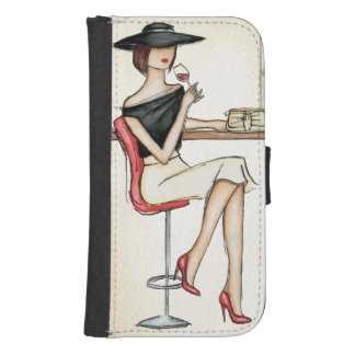 Coque Avec Portefeuille Pour Galaxy S4 Vin potable de femme à la mode