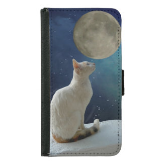 Coque Avec Portefeuille Pour Galaxy S5 Chat et lune