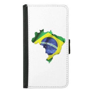 Coque Avec Portefeuille Pour Galaxy S5 Forme de pays de drapeau du Brésil
