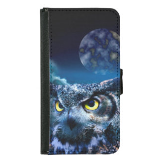 Coque Avec Portefeuille Pour Galaxy S5 Hibou et ciel nocturne