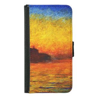 Coque Avec Portefeuille Pour Galaxy S5 Monet-Coucher du soleil de Claude à Venise
